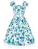 Damen Elegant aermellos blumenprint sommerkleid festliches Kleid Größe L CL4598-8