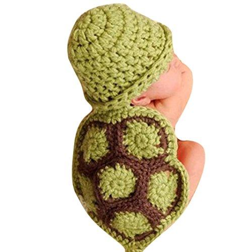 Ouneed® Kinderhut Baby Sommerhut,Baby-Jungen Neugeborene Schildkröte Knit Häkelkleidung Strickmütze Outfit Foto Props (Grün)