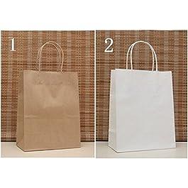 50 Pezzi Sacchetto Borsa Carta Kraft Wedding Bag Naturale Misura Media 27 * 21 * 11 (BIANCO)