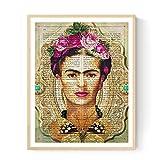 Frida Kahlo Rahmen mit der Definition von Kreativität. Plakat mit Bild von Frida Kahlo mit grünem Hintergrund in A3 Kunstdruck des mythischen Malers Frida Kahlo. Definitionsblatt. Inneneinrichtung. Rahmen zum Rahmen. Papier 250 Gramm hohe Qualität. Dekorieren Sie Ihr Wohnzimmer, Schlafzimmer oder machen Sie das perfekte Geschenk.
