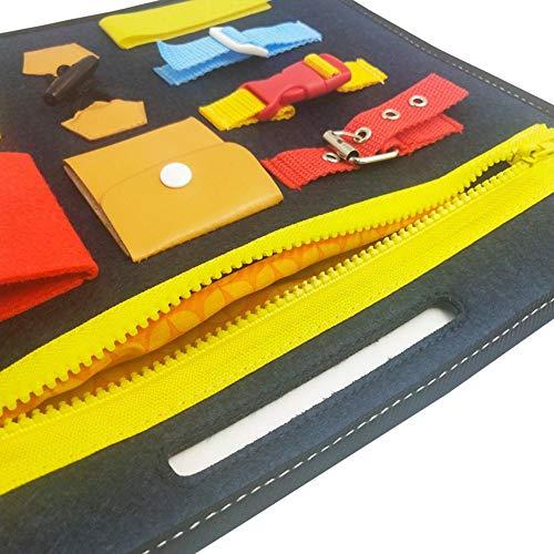 Imagen para Tablas de Vestir Tablero Fieltro Montessori Aprenda a Vestir Juguetes educativos: Cremallera, Botón, Hebilla, Encaje, Aprendizaje temprano Habilidades básicas