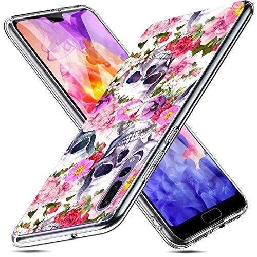 3Ciker Hülle kompatibel für Huawei P20 Pro Handyhülle,Halloween-Schädel Silikon Crystal Clear Transparent Ultra Slim Flexible Luftkissen Schutzhülle für Huawei P20 Pro Handy Case