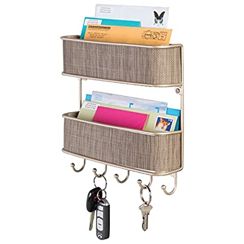 mDesign Wall Mount 2 Tier Mail Entryway Storage Organizer - 5 Hooks, Pearl Champagne