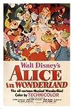 Alice au pays des merveilles de Walt Disney Movie Poster 195124x 36vintage Dessin animé