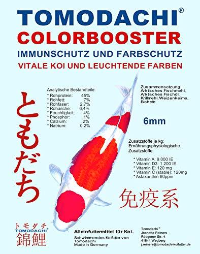 Koifutter, Wachstumsfutter, Energiefutter Koi, Tomodachi Colorbooster Schwimmfutter mit Astaxanthin für Farbschutz und Immunschutz 5kg, 6mm Koipellets