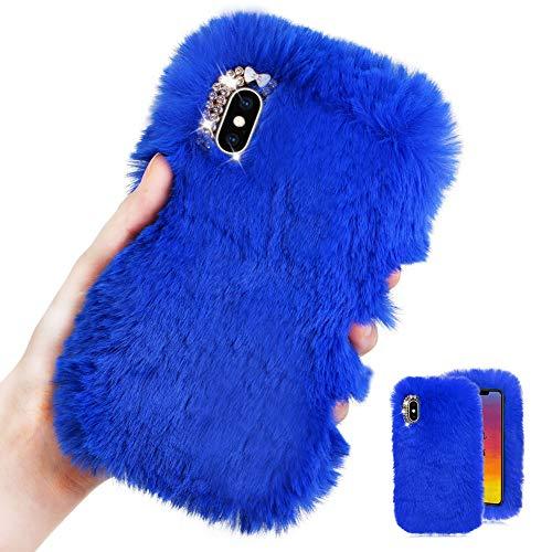 Weich Plüsch Hülle für iPhone 6S,Blau Silikon Hülle für iPhone 6,Moiky Luxus Diamant Warme Hase Pelz Winter Flauschige Rabbit Pelz Soft TPU Handyhülle