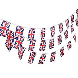 TRIXES 20ft Union Jack Bunting 12 Flag Rectangular UK Great British Bunting Garland for Sporting Events & Street Parties