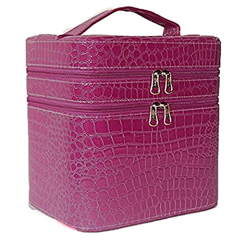 Asvert Large Double Layer Beauty Make up Box Sturdy Leather Cosmetic Storage Cases purple