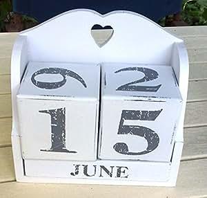 rustikaler shabby chic holz gro wei grau nummer kalender block. Black Bedroom Furniture Sets. Home Design Ideas