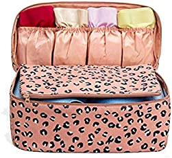 Multi Functional Travel Organizer by House of Quirk Travel Accessories Storage Bags Compression Pouches Clothing Sorting Inner Wear Pouch - Pink Leopard