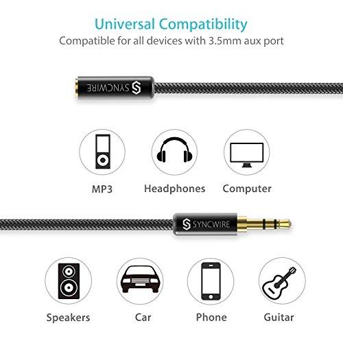Syncwire Audio Verlängerungskabel Kopfhörer Verlängerungskabel – 3.5mm Aux Verlängerungskabel für Kopfhörer, Apple iPod iPhone iPad, Smartphones, MP3 Player – 1m Schwarz - 7