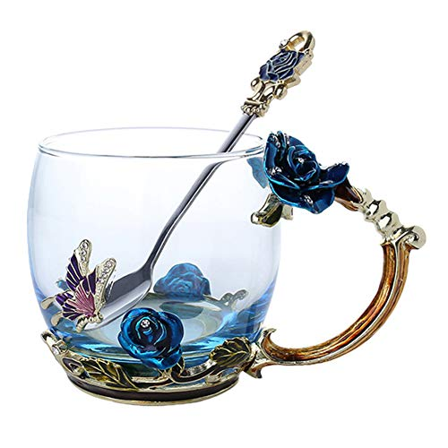 feeilty Blumen-Tee-Schale, Neuheit-Emaille-Kaffee-Tee-Schalen-Becher 3D Rose Butterfly Glass Cups Wedding Gift Rose Cup