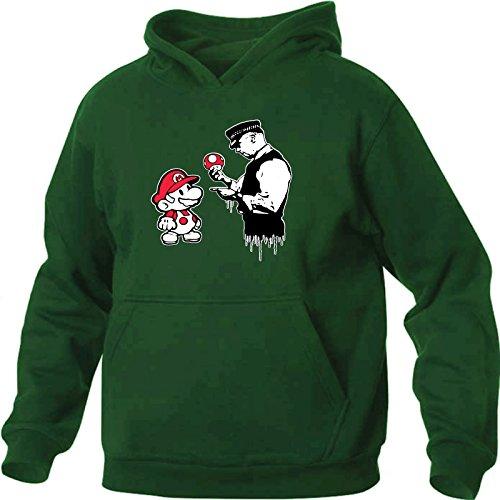 Art t-shirt, felpa con cappuccio super mario graffiti banksy, uomo, verde bottiglia, m