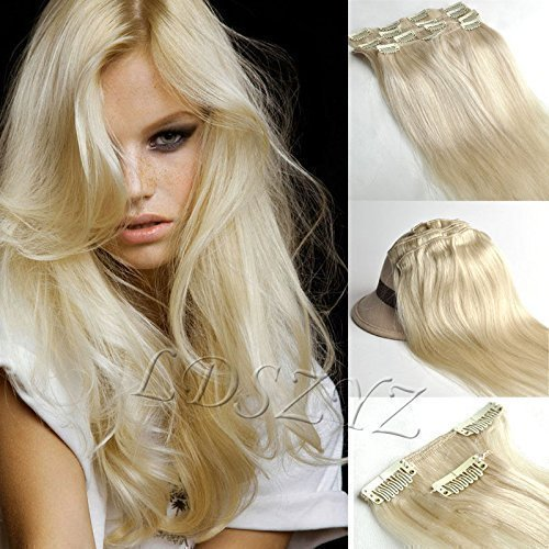*51cm*60 Platinum Blonde Clip In Extensions Set 100% Echthaar 7 teilig*70g* Haarverlängerung Clip-In Hair Extension
