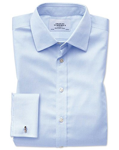 Bügelfreies Classic Fit Hemd in himmelblau mit Hahnentritt blau (Umschalgmanschette Cuff)
