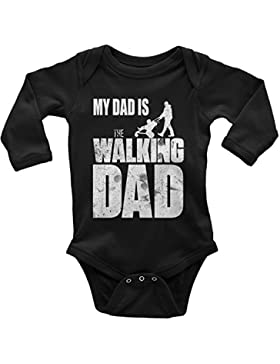 Mikalino Babybody My Dad is The Walking Dad Langarm 100% handbedruckt in Deutschland - bei 60 Grad waschbar -...