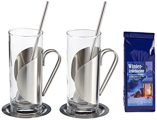 geschenke mit tee Geschenk Set Winter-Früchtetee mit je 2 Teegläsern, Untersetzern und Löffeln, 1er Pack (1 x 50 g)