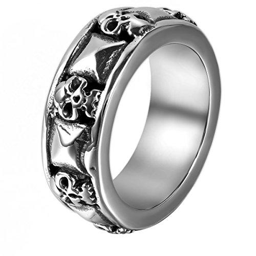 JewelryWe Schmuck Herren-Ring, Gotik Totenkopf Schädel Pyramide, Edelstahl, Schwarz Silber - Größe 62