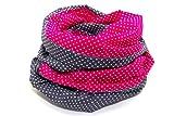 Lieblingsmanufaktur Damen Punkte Loopschal - Ein Loop Schal bunt und farbenfroh, aus reiner Baumwolle. Macht Deine Welt fröhlicher. HERGESTELLT in unserer kleinen Manufaktur in Erfurt, Pink/Grau, Einheitsgröße