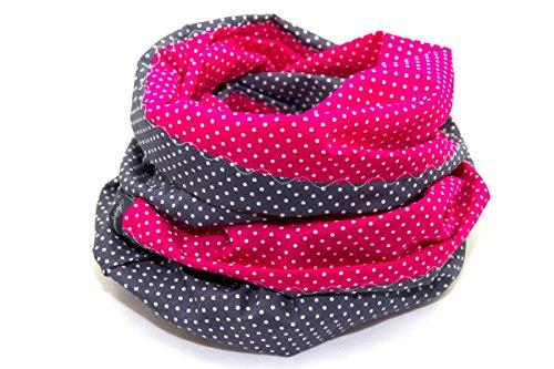 Lieblingsmanufaktur Damen Punkte Loopschal - Ein Loop Schal bunt und farbenfroh, aus reiner Baumwolle. Macht Deine Welt fröhlicher. HERGESTELLT in unserer kleinen Manufaktur in Erfurt, Pink/Grau, Einheitsgröße - Kleine Handgemachte Schal