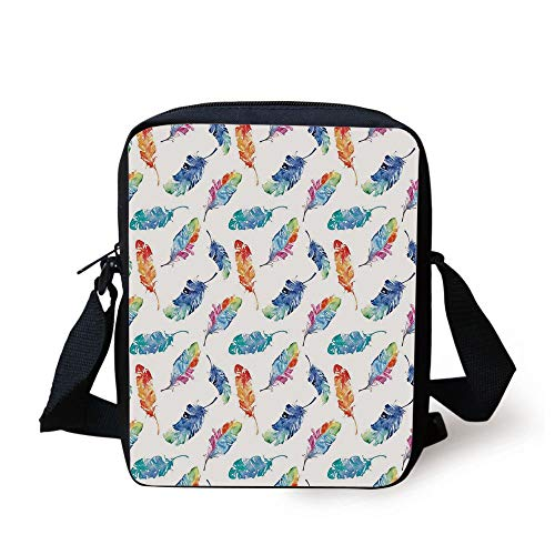Feather,Watercolor Bird Feathers with Soft Color Palette Native American Inspirations Print,Multicolor Print Kids Crossbody Messenger Bag Purse -