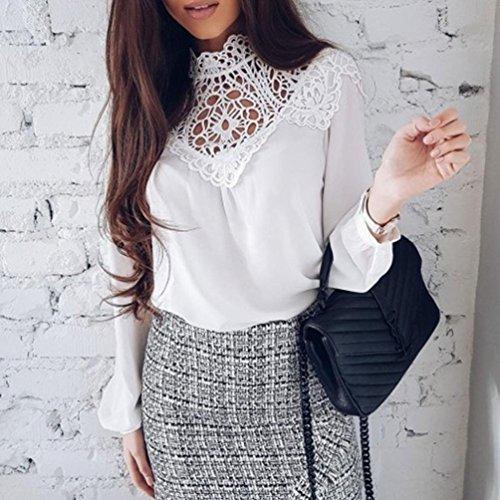 AmazingDays Femme Chemisiers T-Shirts Tops Sweats Blouses Dentelle éPissage Mode V-Neck Tops Chemise à Manches Longues Chemisier white