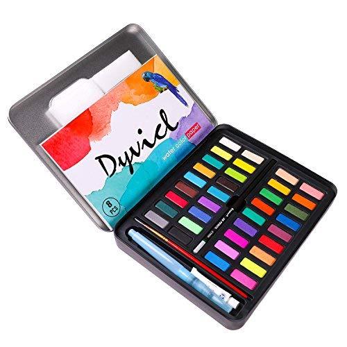 Dyvicl Professionelles Aquarellfarben-Set, 36 verschiedene Aquarellfarben, Dose, Aquarellmal-Set für Künstler, Studenten, Anfänger