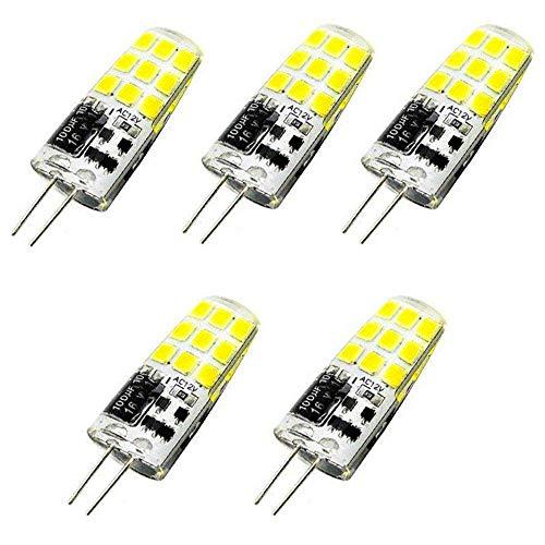 Bonlux G4 LED Glühbirne Kaltweiß 6000K 3W 2-Stifte Birne AC/DC 12V Abstrahlwinkel 360 Grad Stiftsockellampe Ersatz für 20W-25W Halogenlampe (5-Stück, Nicht Dimmbar) -