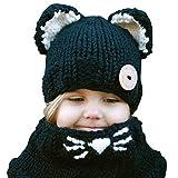 Butterme Sciarpe e cappelli per bambini Neonati ragazzi Sciarpa invernale caldo invernale Sciarpa Cappello di lana lavorato a maglia Shea