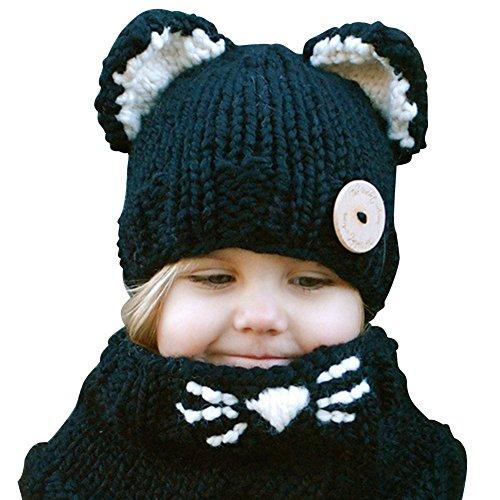 Amorar Kinder warme Katze Hut Tier Hüte gestrickte Coif Hood Schal Mützen für Herbst Winter