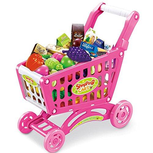FEI Jouets Simulation Jouets pour enfants Supermarché Shopping Carts To Play Accueil Jouets Bébé Chars Jouets Little Girls Légumes de cuisine et de fruits Sets Jouets (1-3 ans) Début Éducation ( Couleur : Rose )