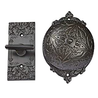 Adonai Hardware Belshazzar Brass Manual Old Fashion Door Bell or Twist Door Bell or Hand-Turn Door Bell - Black Powder Coated