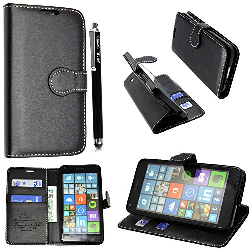 Microsoft Lumia 650 / 650 Dual Sim Hülle , Kamal Star® Kunstleder Tasche PU Schutzhülle Tasche Leder Brieftasche Hülle Case Cover + Gratis Universal Eingabestift (Plain Black Book)