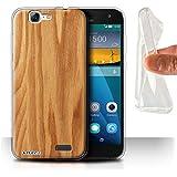 Carcasa/Funda STUFF4 TPU/Gel para el Huawei Ascend G7 / serie: Efecto de grano de madera/patrón - Roble
