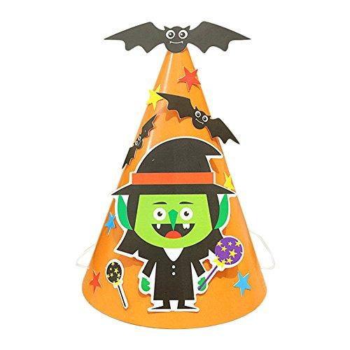 Vikenner Halloween Hexenhut Harry Potter Hexen-Kostüm Zubehör Stofffetzen Hut mit Flicken hexenhut basteln Hexe Fetzen Kinder Papier Orange Assistent Süß -