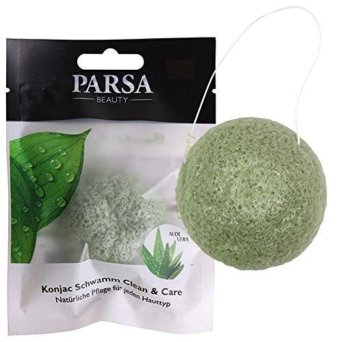 Konjac Gesichtsschwamm Clean & Care Sanftes Peeling und Pflege durch Aloe Vera Biologisch Abbaubar, 100% Natürlich und Vegan von PARSA (Haut-pflege-schwamm)