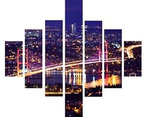7Panneau Multi Split Panneau sur toile Art–Bosphore Istanbul Pont Rivière à Night Lights City Skyline–115cm x 95cm–Kit de fixation inclus–Montage sur cadre en bois–Prêt à accrocher