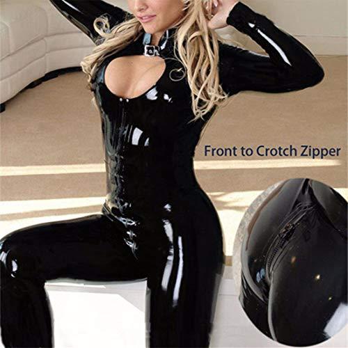 CoolTing M-XXL 2019Women Sexy Schwarze Catwomen Overall Latex PVC Catsuit Kostüme Für Tanz Frauen Körper Anzüge Fetisch Leder DS Spiel - Schwarze Leder Tanz Kostüm