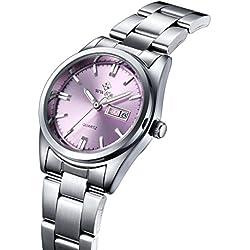 Damen Datum Kalender Uhr Damen Fashion Casual Edelstahl Uhren weiblich casua Armbanduhr Pink