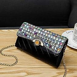 LFGCL Sacs FemmeSac de soirée incrusté de Diamants avec Un Sac à Mailles en chaîne à l'épaule, Grand Plaid Noir