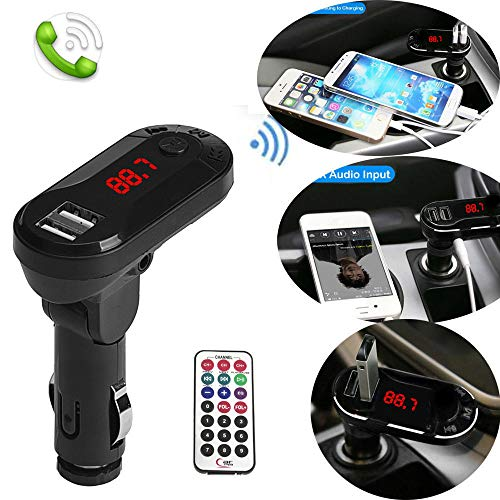 Gaddrt to MP3 Wireless FM Transmitter MP3 Player Freisprecheinrichtung USB TF SD Fernbedienung (Schwarz)
