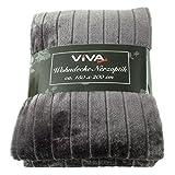 Viva Decken 150x200cm Wohndecken Kuscheldecke Tagesdecken Nerzoptik leicht, Farbe:grau