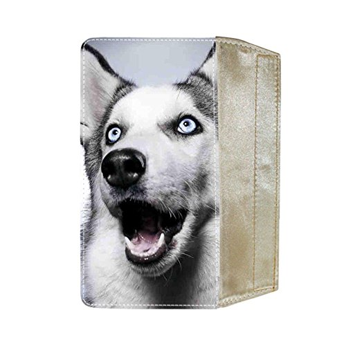 For Girl Cotton Fabric Apparent For Women Wallets Print With Siberian Husky (Velcro Womens Wallet)
