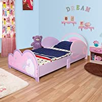 GR8 Home Wooden Unicorn Horse Pegasus Design Junior Toddler Cot Bed Frame Girls Purple Princess Rainbow Theme Childrens Kids Bedroom Furniture with Side Wing Safety Guards Barriers