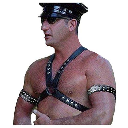 keland Top intimo per donna con spalline regolabili in pelle punk regolabile da uomo (Nero-A)