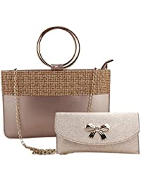Nevis Leatherite Women Fashion Tote Satchel Baguette Handheld Bag 2 Pcs Set 196e2eabfce88