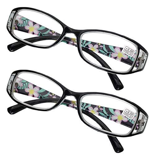 KOOSUFA Lesebrillen Damen Lesehilfe Sehhilfe Augenoptik Blumen Qualität Vollrandbrille 1.0 1.5 2.0 2.5 3.0 3.5 4.0 4.5 5.0 5.5 6.0 (2x Schwarz, 5.0)
