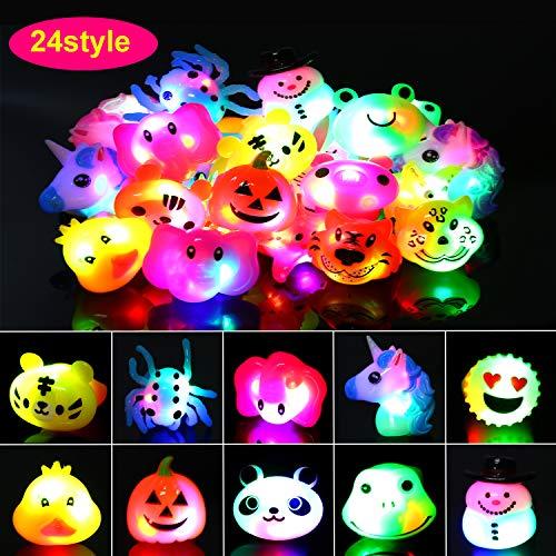 Howaf 24 stücke LED blinkende Ringe Leuchtringe Kinder Spielwaren Party Zubehör für Jungen mädchen Mitgebsel Gastgeschenke Kindergeburtstag Giveaways