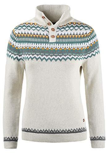 DESIRES Norma Damen Weihnachtspullover Norweger-Pullover Winter Strickpullover Troyer Grobstrick Pullover mit Stehkragen, Größe:XL, Farbe:Oyster Grey (8215)