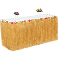 Table Skirt 9.6ft Hawaiian Luau Table Skirt with 26 Faux Silk Flowers Artificial Grass Multi Colour Tableware Decorations for Party Hallowmas